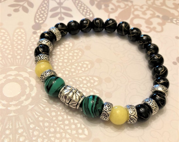 Malachite Stretch Bracelet with Yellow Jade Beads, Glass Beads and Pewter Spacers.