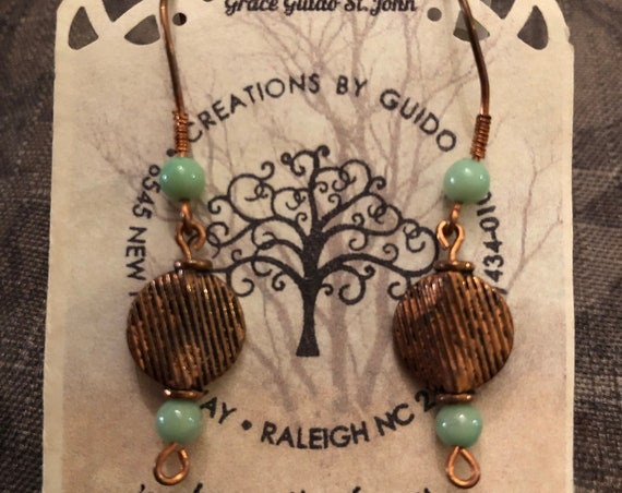 Copper Earrings with Green Opal Beads and Copper Ear Wires.