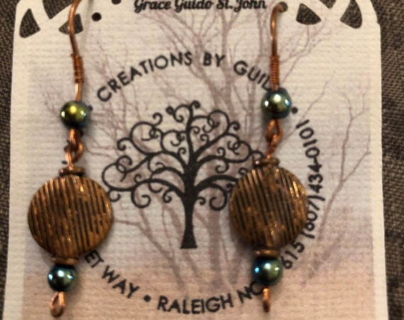Copper Earrings with Hematite Beads and Copper Ear Wires.