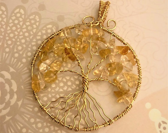 Citrine Tree of Life wire wrapped with 14K Gold-Filled Wire.