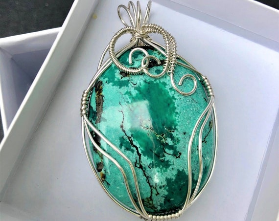 Chinese Turquoise Cabochon Wire Wrapped with Sterling Silver Wire