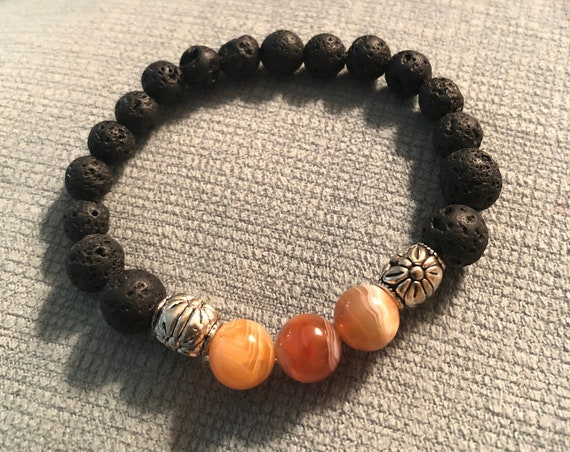 Aroma Therapy Bracelet made with Botswana Agate Beads and Lava Rock Beads.