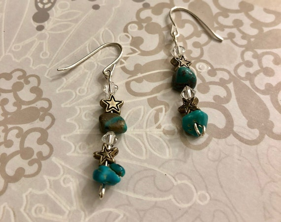 Natural Turquoise Earrings w/ Pewter Stars, Swarovski Crystals & Sterling Silver Wire.