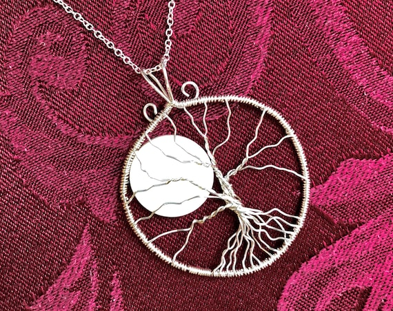 Sterling Silver Tree of Life with a Rising Moon.