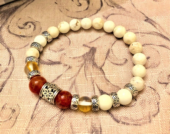 Fire Agate Stretch Bracelet with Iridescent Glass Beads, Howlite and Pewter Focal Beads/Spacers.