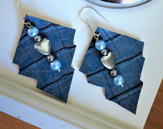 Blue Faux Leather Earrings with Heart Shape Hematite Beads.