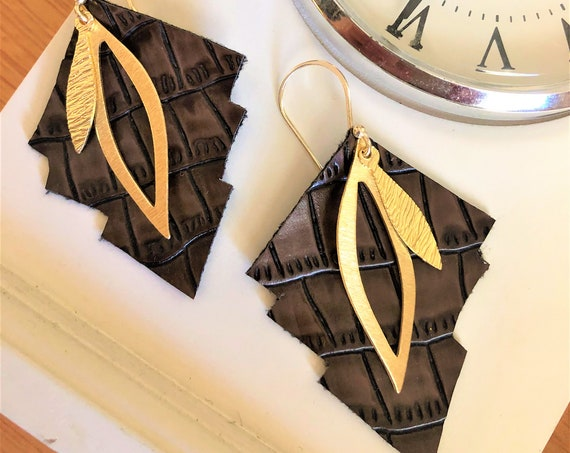 Brown Faux Leather Earring with Gold Finished Dangles.
