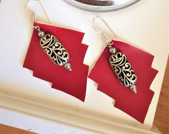 Red Faux Leather Earrings with Silver Plated Rectangle Scroll Bead.