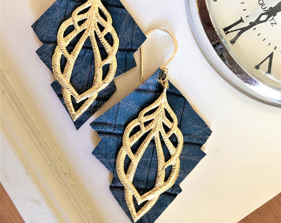 Blue Faux Leather Earrings with Gold Finished Dangle.