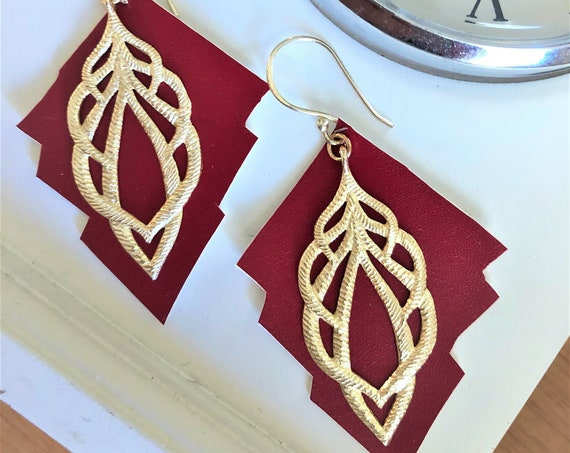 Red Faux Leather Earrings with metal Dangles with Gold Finish.