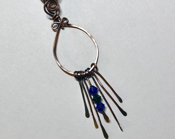 Swarovski Crystal Drop Hammered Copper Pendant Necklace.