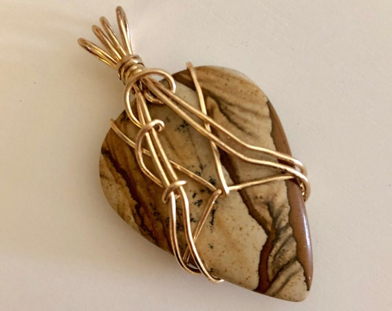Picture Jasper Pendant wrapped with 14K Gold Filled Wire.