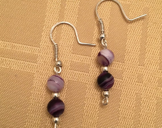 Banded Agate and Sterling Silver Beaded Earrings wrapped with Sterling Silver Wire.