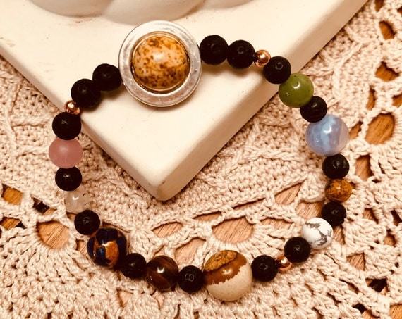 Aroma Therapy Solar System Bracelet with Multiple Gemstones.  Will Custom Size.