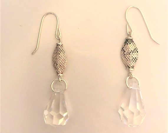 Sterling Silver Crystal Drop Earrings.