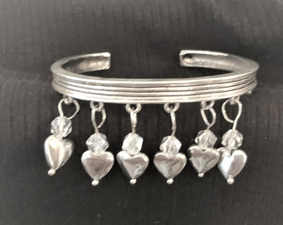 Silver Plated Hearts on a Bangle Bracelet
