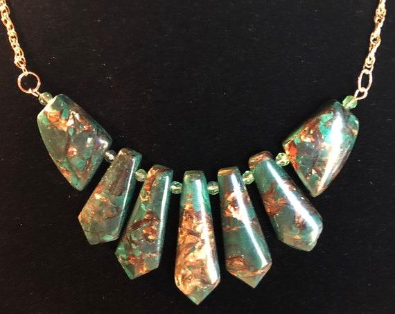 Beautiful Malachite and Bornite Necklace with Czech Beads.