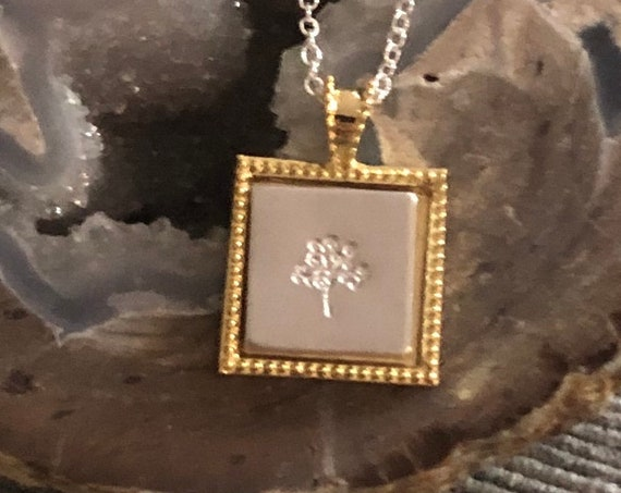 Stamped Tree of Life Pendant in a 18K Gold Plated Bezel with a Sterling Silver Chain