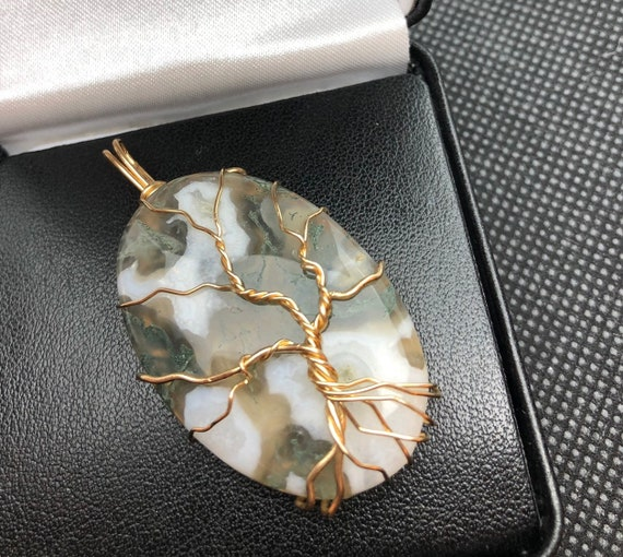 Designer Moss Agate Tree of Life Necklace.   Moss Agate properties are Prosperity, Health & Peace