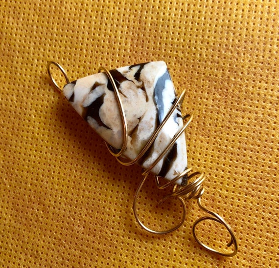 14K Gold Exquisite Australian Fossil Peanut Wood Cabochon Necklace wrapped in 14K Gold Filled Wire