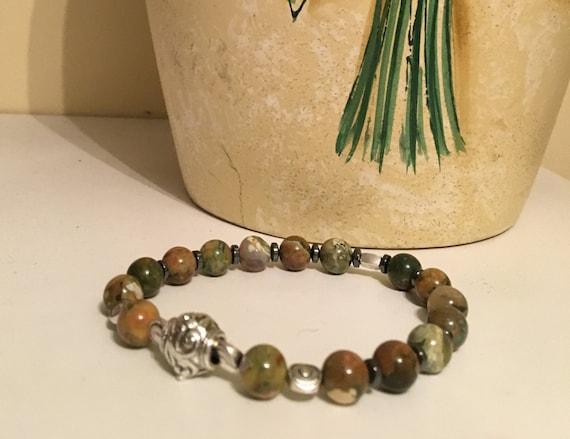 Men's Rainforest Rhyolite Bracelet made with Rainforest Rhyolite Beads, Pewter Beads, Hemalite Spacers  WILL CUSTOM SIZE