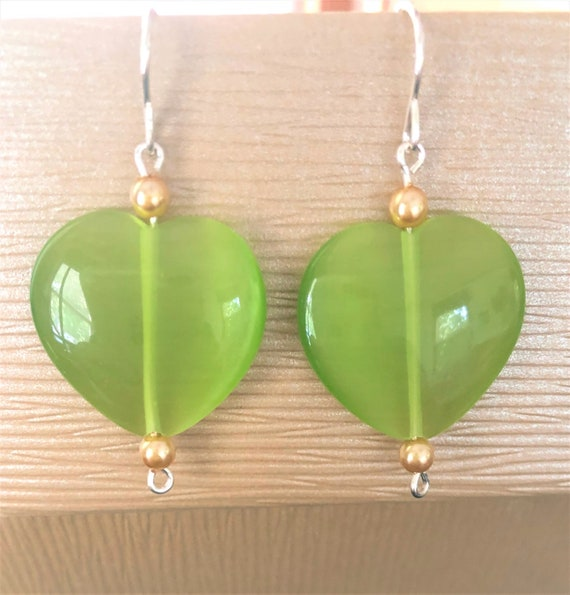 Green Cats Eye Earrings with Sterling Silver Wire and Czech Glass Beads.