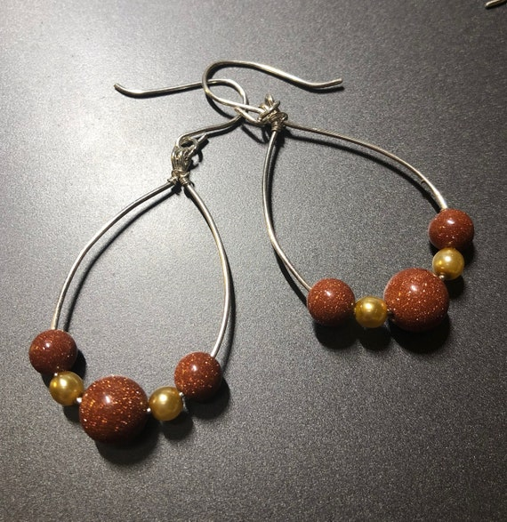 Goldstone and Czech Beaded Hoop Earrings wrapped with Sterling Silver Wire.