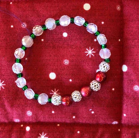 Red  and Green Czech Glass Bead Bracelet