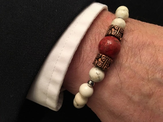 Men's Red Sponge Coral Bracelet made with Copper Beads Hematite Beads & Howlite Beads (Will Custom Size)