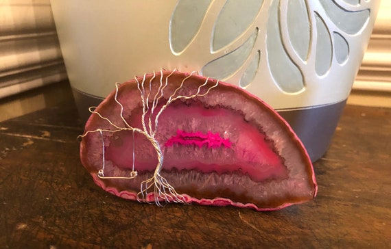 Pink Brazilian Geode Agate Tree of Life with Swing.   Tree of Life represents Eternal Life and Eternal Families.