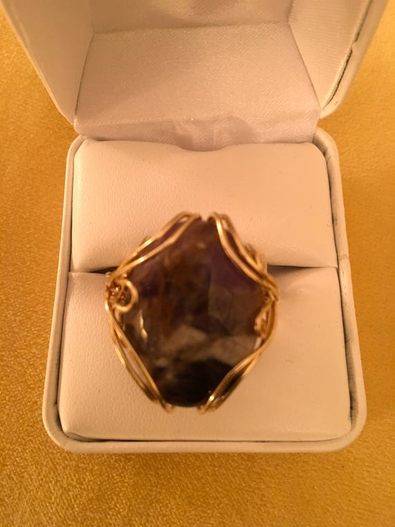 Dog Tooth Amethyst Ring w/ 14K Gold Filled Wire.   Amethyst properties are Cleansing, Comforting, Spiritual