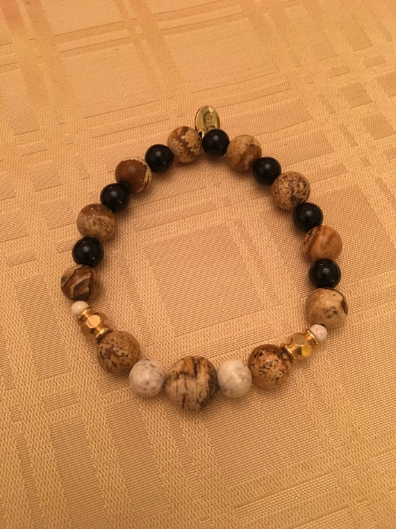 Stone Bracelet with Natural Gem Stones and Pewter Findings.  (Will Custom Size)