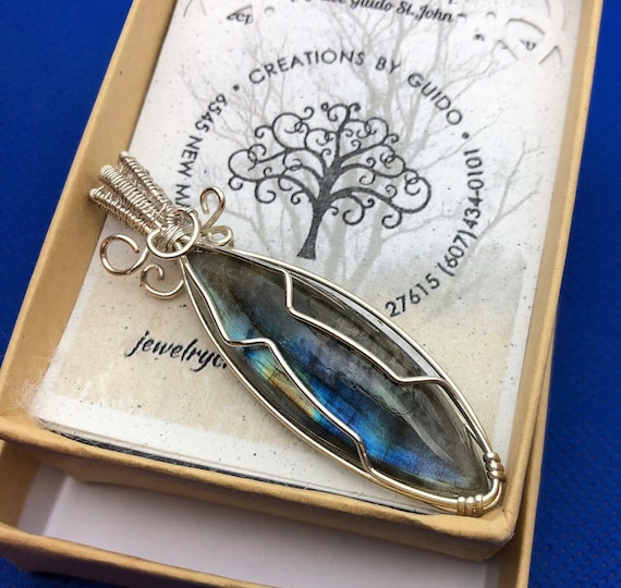 Marquise Labradorite wrapped with Sterling Silver wire.
