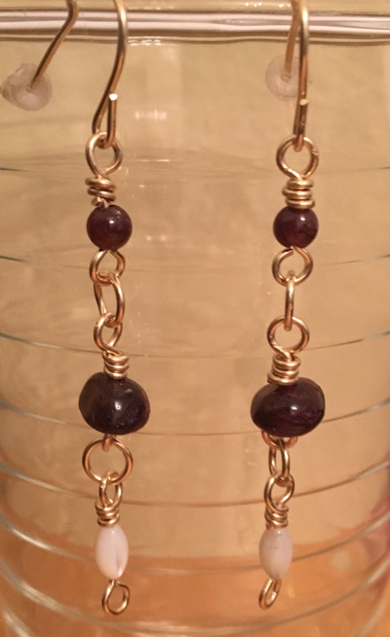 Garnet Earrings with Shell Beads and 14K Gold Filled Wire.