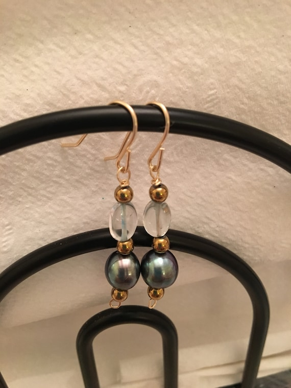 Fresh Water Pearl  and Aquamarine Beaded Earrings wrapped with 14K Gold Filled Wire