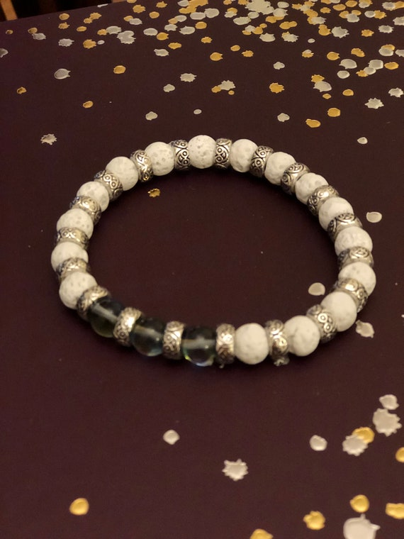 Aroma Therapy Bracelet with Smoky irridescent Beads and White Lava Rock Beads