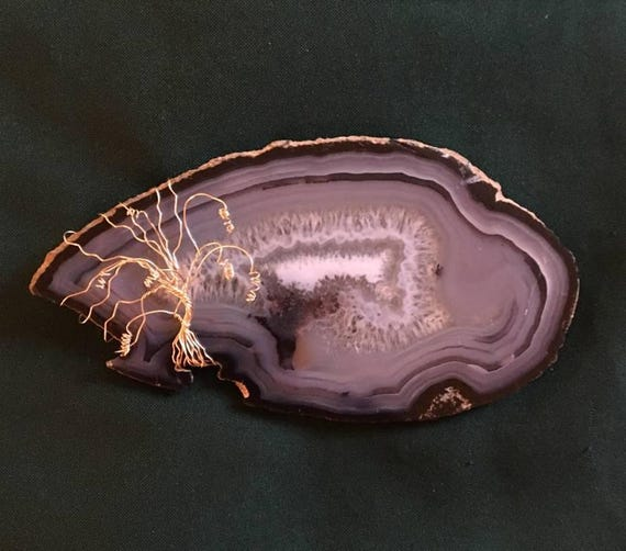 "Weeping Willow Tree of Life on a Brazilian Agate Geode Slab (3 3/4"" x 7 1/2"")"