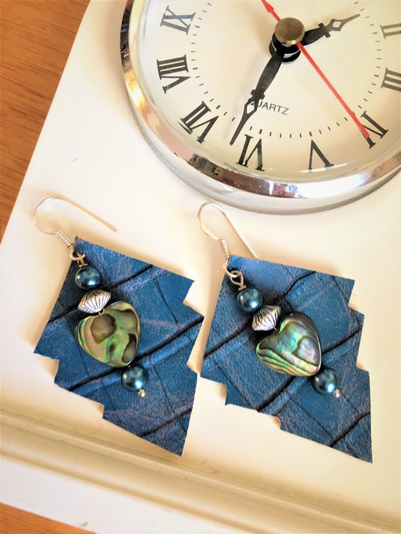 Blue Faux Leather Earring with Heart Shaped Abalone Shell.