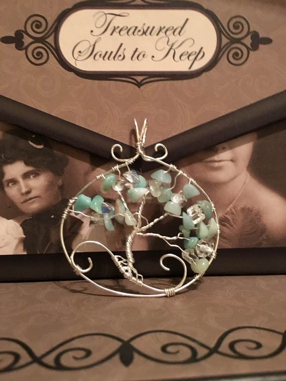 Tree of Life with Oscar Picture Rock,Opalite and .925 Sterling Silver Wire and 18 inch Chain