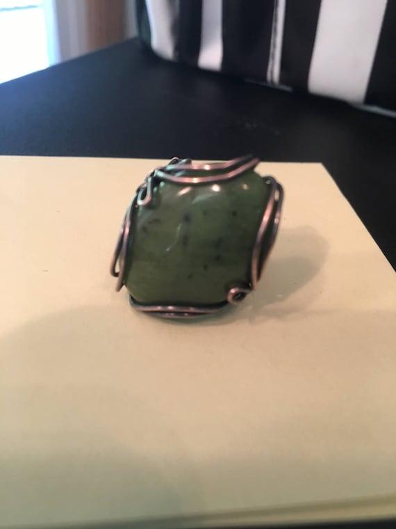 Antiqued Jade Ring.   Jade properties are Calm, Peace & Harmony