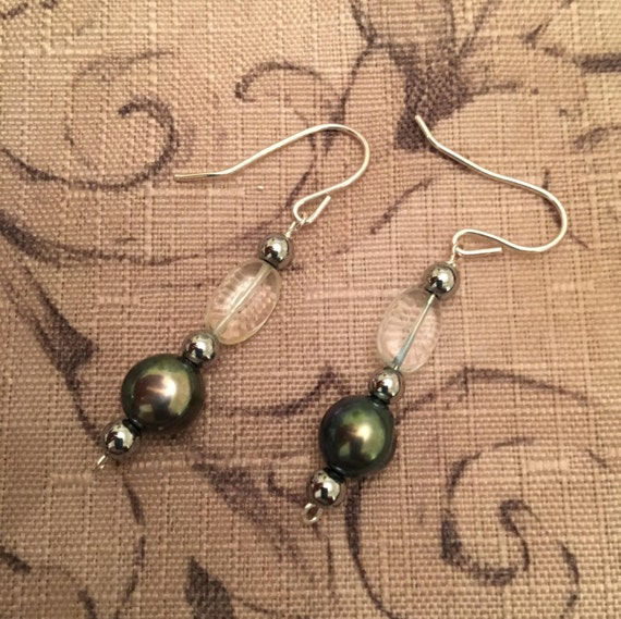 Fresh Water Pearl Earrings w/ Aquamarine Beads.   Fresh Water Pearl properties are Integrity, Innocence & Grace