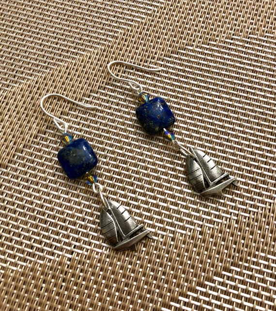 Lapis Lazuli Earrings, Swarovski Crystals, Pewter Sailboats and Sterling Silver Wire.