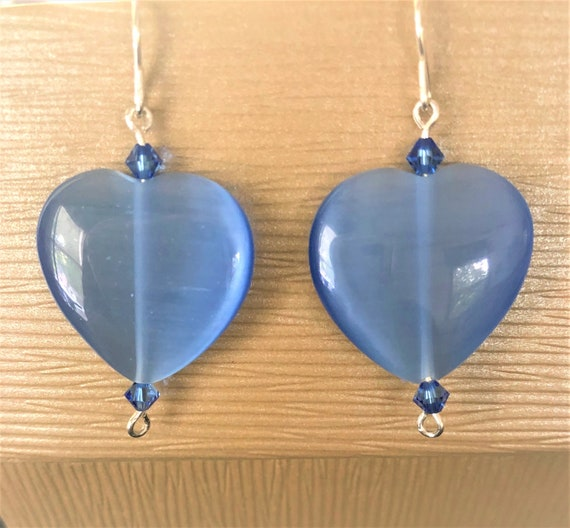 Blue Cats Eye Earrings with Sterling Silver Wire and Swarovski Crystals.