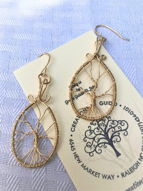 Tree of Life Earrings constructed using 14KGold Filled Wire