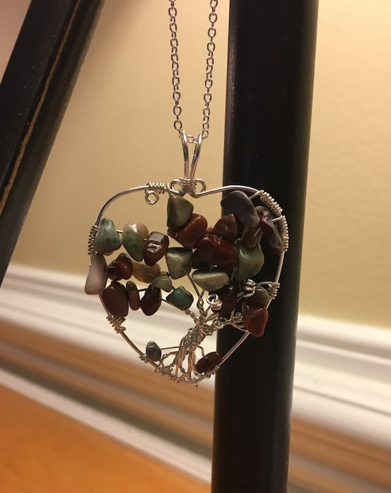 Fall Leaves Heart Shaped Tree of Life using Imperial Jasper Chips.