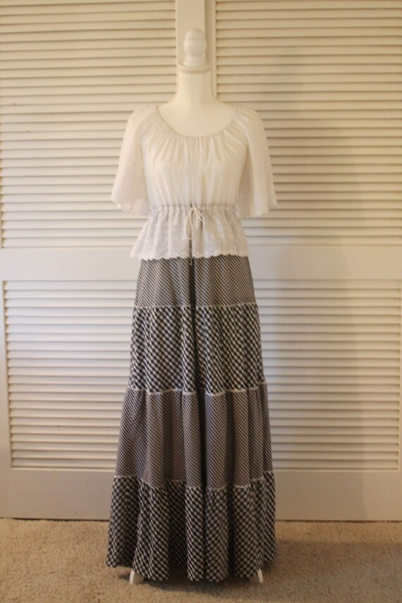 Vintage Jody T gingham maxi dress with tiered skir