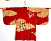 1920s antique kimono coat quot Michiyuki quot in red with beautiful colourful pattern Kimono cardigan kimono dress Kimono top antique kimono