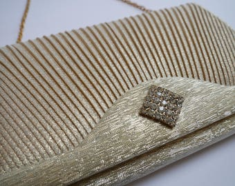 Vintage Japanese clutch bag in gold with beautiful crystal accent/gold clutch bag in silk/Japanese bag/kimono bag/Gold clutchbag