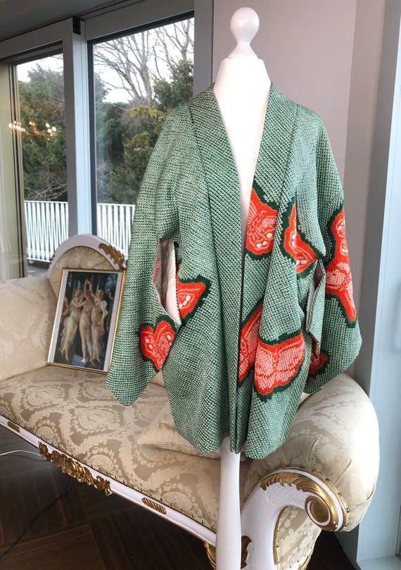 270 vintage japanese kimono wool haori short coat orange yellow green flower orchid