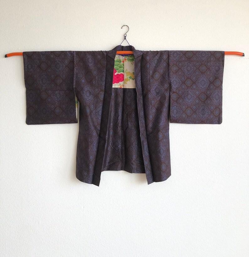 Vintage oshima-tsumugi haori in dark purple  kimono jacket in silk  kimono cardigan  silk vintage haori  antique kimono